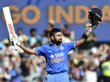 Virat Kohli celebrates his 24th ton. AFP