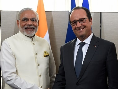File photo of Modi and Hollande. AFP