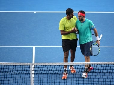 Rohan Bopanna and Florin Mergea after win at Australian Open. Getty