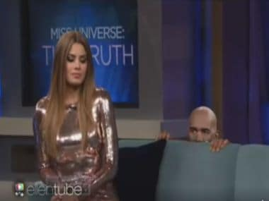 Steve Harvey and Miss Colombia Ariadna Gutierrez in a screengrab from the video.