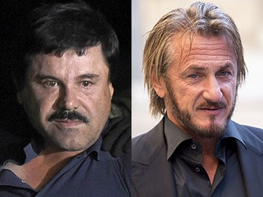 File photo of El Chapo and Sean Penn. AFP