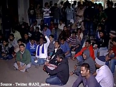Protests at the university campus. Twitter/@ANI_news
