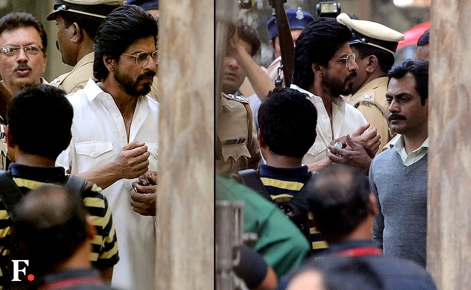 Shah Rukh Khan shoots for his upcoming movie Raees at Parsi Gymkhana, Mumbai