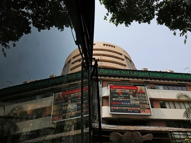 A screen displaying Finance Minister Arun Jaitley presenting the budget is seen on a facade of the Bombay Stock Exchange (BSE) building. Reuters