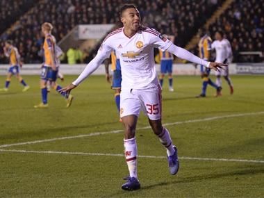 Jesse Lingard celebrates scoring United's third goal. AFP