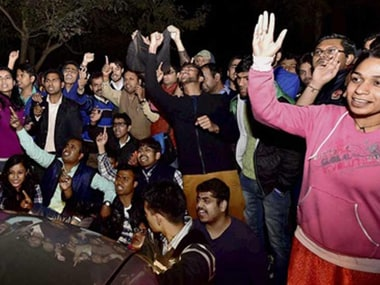 A file photo of protesting students at JNU. PTI