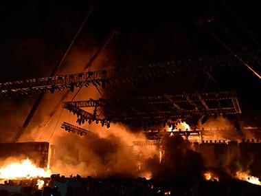 The fire at Girgaum Chowpatty. AFP