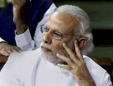 Screen grab of PM Modi listening to FM Jaitley deliver his Budget speech. PTI