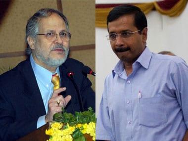 Delhi L-G Najeeb Jung (left) and CM Arvind Kejriwal.