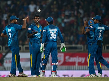 Perera dismissed Hardik Pandya, Suresh Raina and Yuvraj Singh during his hat-trick in Ranchi. AP