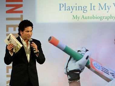 "Sachin Tendulkar at the launch of his autobiography ""Playing It My Way"". AFP"