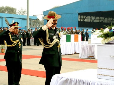 Chief of Army Staff, General Dalbir Singh paying homage at the mortal remains of soldiers, at Palam Airport, in New Delhi on 15 February 2016. Image courtesy PIB