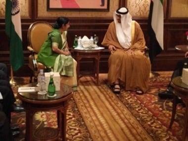 External Affairs Minister Sushma Swaraj meets Abu Dhabi Crown Prince Sheikh Mohammed Al Nahyan in New Delhi. Image courtesy: Twitter/@MEAIndia