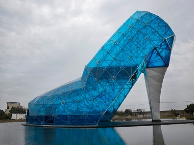 A giant glass structure shaped like a high-heel shoe being built in southern Chiayi, Taiwan. AP