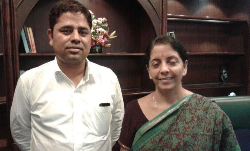 Chauhan with Nirmala Sitharaman. Image courtesy: Vikram singh chauhan/Facebook