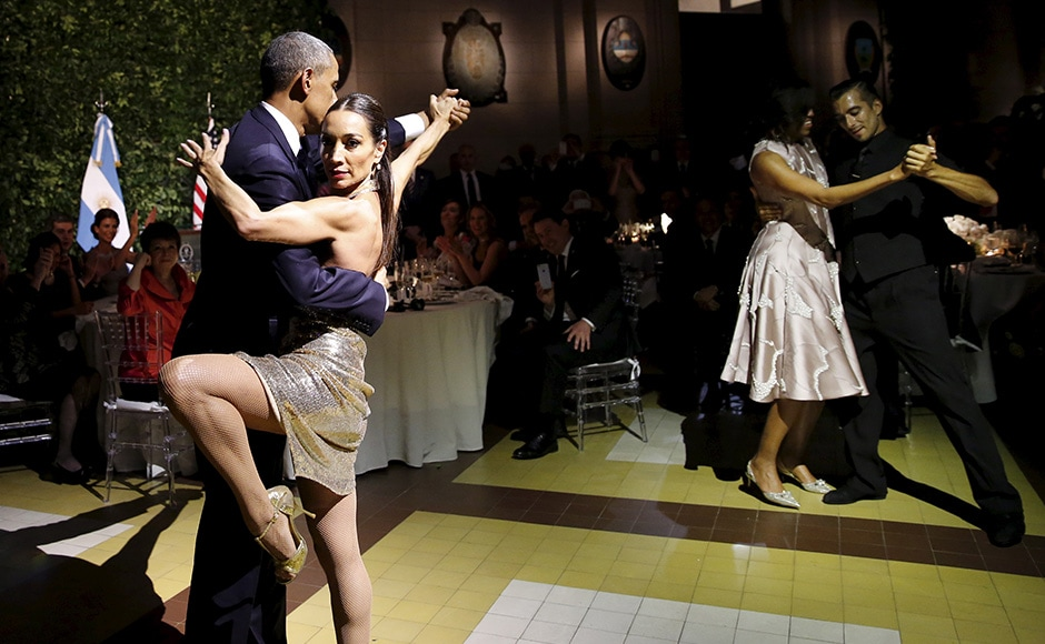 Though the President was hesitant for a moment, his partner seemed to dispel all his doubts and moved him to the dance floor. Reuters