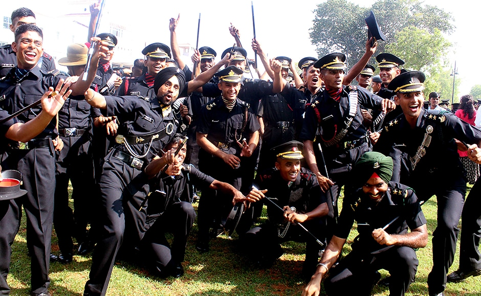 The Indian Army cadets of the Officers Training Academy celebrate after the passing out ceremony at the OTA grounds in Chennai, India on March 12, 2016. (SOLARIS IMAGES)