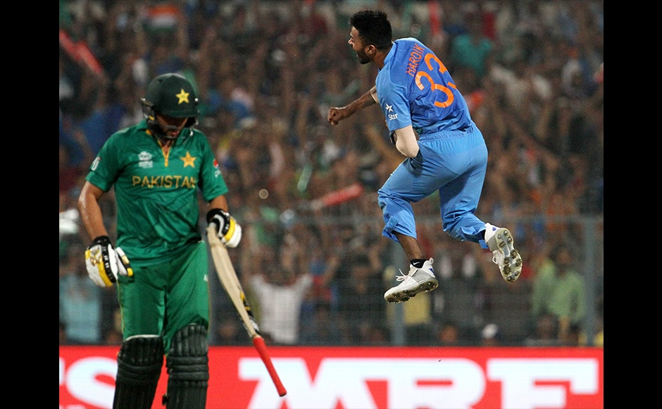 Pacer Hardik Pandya celebrates the wicket of Pakistan captain Shahid Afridi. Afridi had a bad day at the office as he scored just 8 off 14 balls and ended up wicketless. Solaris