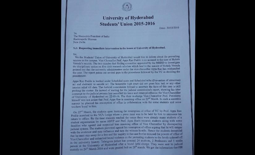 Hyderabad varsity row: Students write to President Pranab Mukherjee, seek Appa Raos sacking