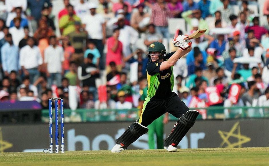 Australian captain Steve Smith in action against Pakistan in World T20. PTI