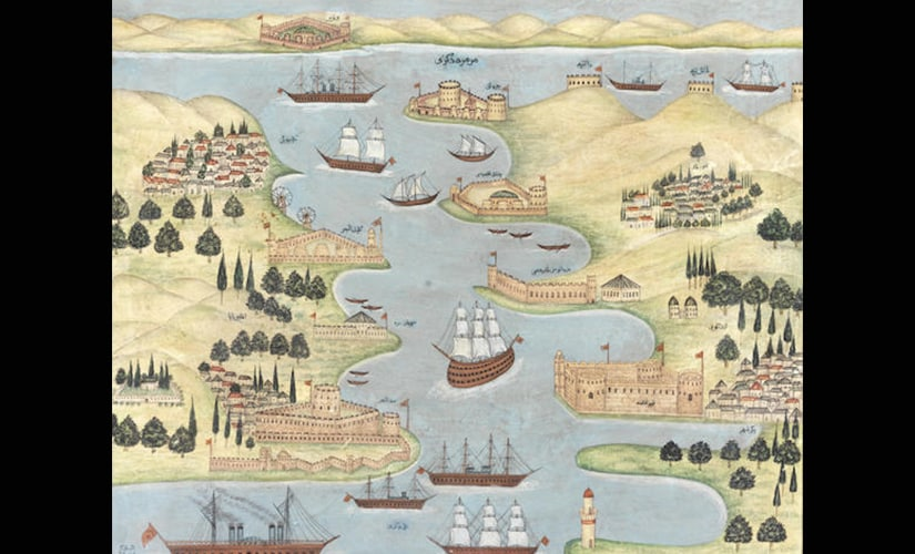 A view of the Dardanelles, signed by Mehmed Pertev
