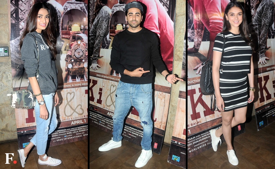 """Although there are still a few days to go for R Balki's Ki & Ka to reach our theatres, Bollywood is already singing the praises of this Arjun Kapoor-Kareena Kapoor gender-bender film. A few of them attended a special screening of the film this week. Ayushmann Khurrana was among those who were really struck by the film, and he said that it was a must-watch for the way it depicted a reversal of gender stereotype. He also praised Arjun's performance in the film, calling it """"beautiful"""" while her termed Kareena's presence in the movie as """"alpha"""". Image by Sachin Gokhale/Firstpost"""