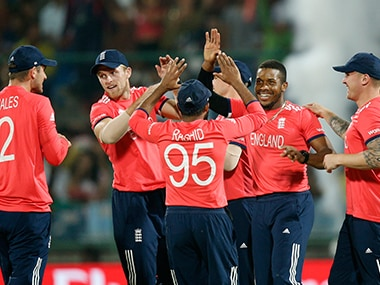 England celebrate during their win against Sri Lanka. AP
