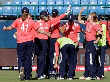 England Women's Team celebrate during WT20 game with India. GettyImages