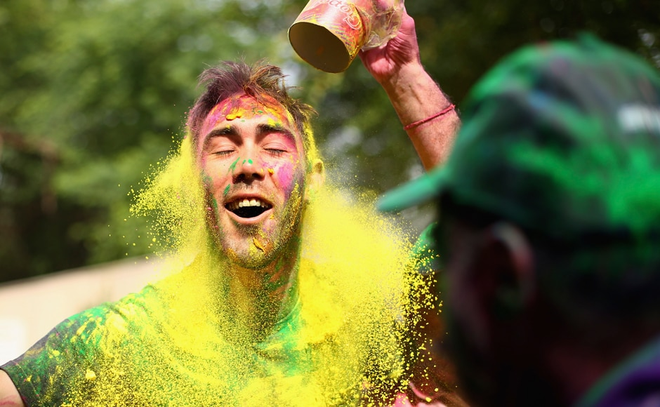 Holi, Aussie style: Glenn Maxwell joins in on festivities, colours himself green and gold