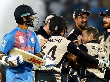 New Zealand bowler Nathan McCullum celebrates the wicket of India's batsman Shikhar Dhawan during the ICC T20 World Cup match played in Nagpur on Tuesday. PTI