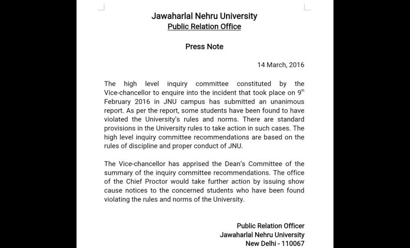 JNU Row: Inquiry committee submits report, finds some students guilty of sloganeering