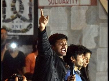 Kanhaiya Kumar at JNU after his release on bail. PTI
