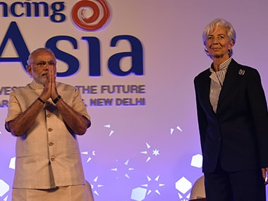 Narendra Modi and Christine Lagarde at the 'Advancing Asia Conference' conference in Delhi. AFP