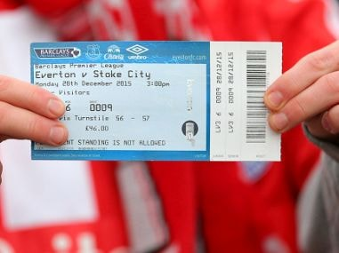 File photo of a Stoke City fan with his £46 ticket. Getty Image