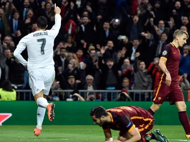 Cristiano Ronaldo celebrates after putting Real Madrid ahead in the Champions League second-leg clash against Roma at Bernabeu on Tuesday. AFP