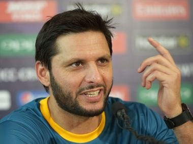 Shahid Afridi gestures as he addresses media representatives at a press conference. Getty Images