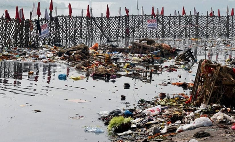 Yamuna infused with oxygen using cylinders and pipes to highlight pollution