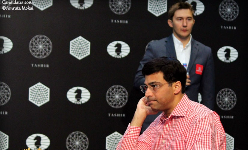Few moves into their Round 4 match at the Central Telegraph Building in Moscow, Anand looks lost in thought. Amruta Mokal