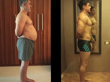 A still from the 'Fat to Fit' video highlighting Aamir Khan's dramatic 'body transformation' for 'Dangal'