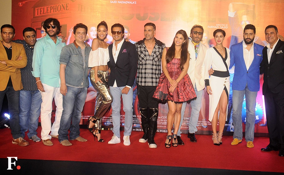 The entire cast of Housefull 3 with producer Sajid Nadiadwala. Sachin Gokhale/Firstpost