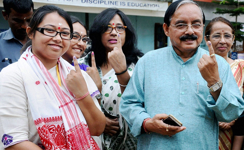 Assam Pradesh Congress Committee president Anjan Dutta along with his daughter and Congress candidate from Amguri LAC Angkita Dutta and other family members cast their votes in Amguri on Monday.