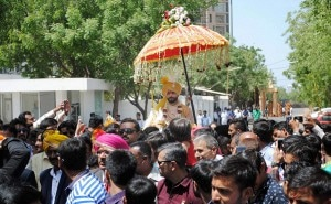 Rajkot: Indian cricketer Ravindra Jadeja during his wedding procession in Rajkot on Sunday. PTI Photo