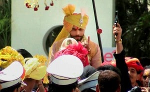 Indian cricketer Ravindra Jadeja during his wedding procession in Rajkot on Sunday. PTI Photo