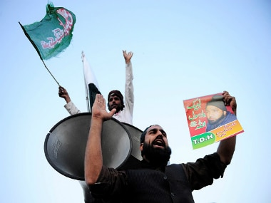 Pakistani people stage a protest against the execution of Mumtaz Qadri. Getty Images