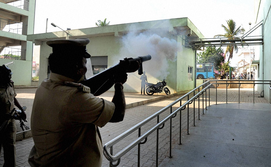 Protestors reportedly hurled stones at the officers, who later fired teargas shells at them. PTI