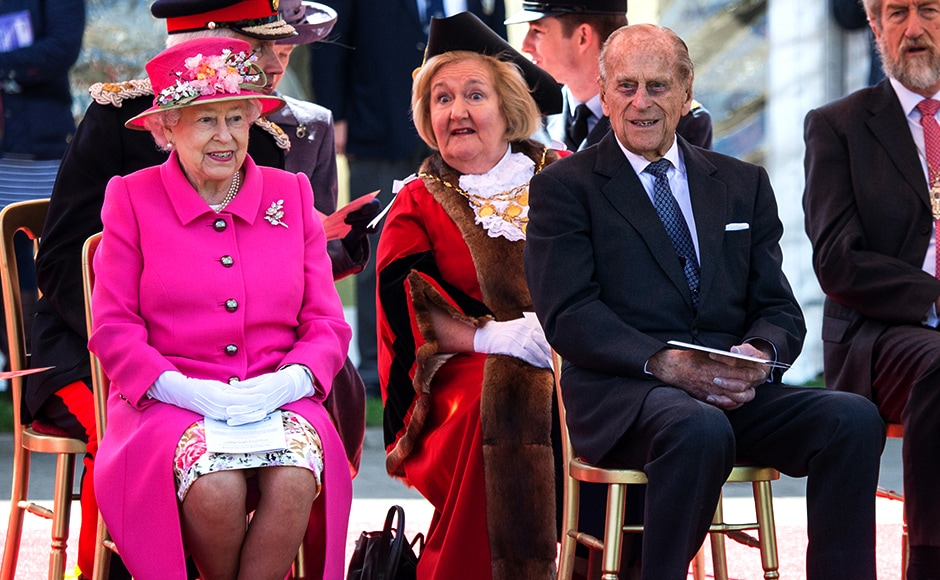 Queen Elizabeth and Prince Philip officially open the new bandstand at Alexandra Gardens. Reuters