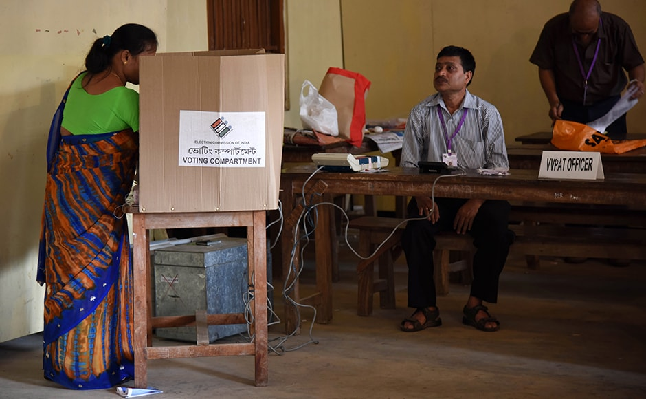 In a first, a Voter Verified Paper Audit Trail (VVPAT) machine was introduced in ten Assam constituencies, including Guwahati under Kamrup (Metro) district. AFP