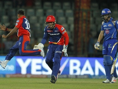 Delhi Daredevils players celebrate a wicket against Mumbai Indians. BCCI