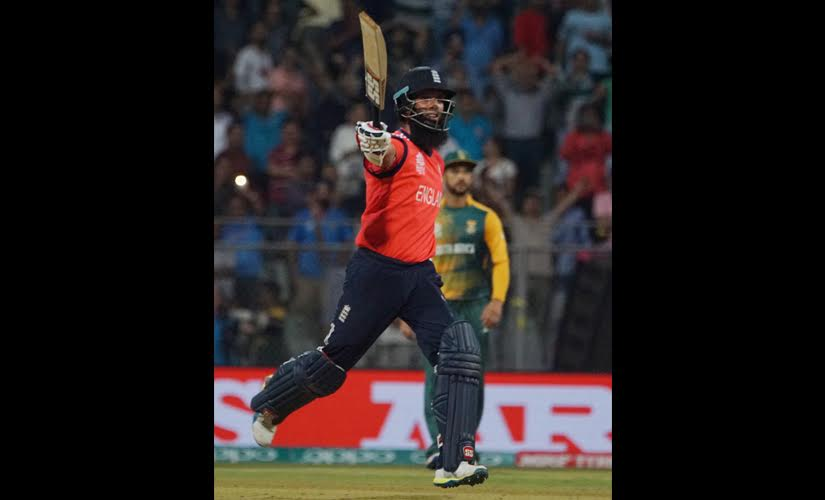 Moeen Ali celebrates after hitting the winning runs for England against South Africa. Getty