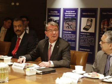 US Defense Secretary Ash Carter speaks at Innovation Roundtable organized by Federation of Indian Chambers of Commerce and Industry, in New Delhi. AP